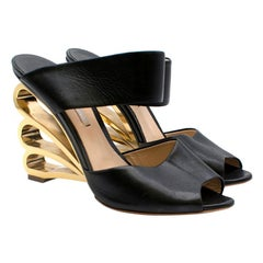 Nicholas Kirkwood Black Mules W/ Gold Metal Wedge Heel