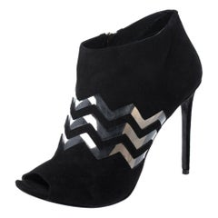 Nicholas Kirkwood Black Suede And PVC Chevron Peep Toe Ankle Booties Size 40