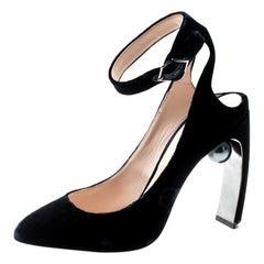 Nicholas Kirkwood Blue Velvet Lola Pearl-Detail High Heel Sandals 38