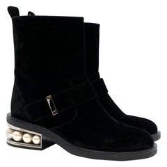 Nicholas Kirkwood Casati Pearl-heeled Velvet Boots 36.5