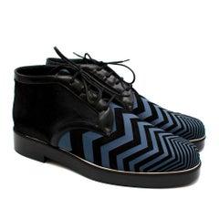 Nicholas Kirkwood Chevron-Print And Pony Hair Derby Boots - Size EU 43