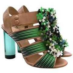 Nicholas Kirkwood for Peter Pilotto Nude & Green Embellished Sandals - Size 38