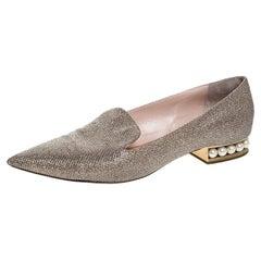 Nicholas Kirkwood Glitter Fabric Faux Pearl Heel Pointed Toe Loafers Size 41