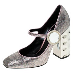 Nicholas Kirkwood Metallic Multicolor Glitter Mary Jane Block Heel Pumps Size 36
