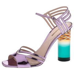 Nicholas Kirkwood Metallic Purple Leather Lucite Ankle Strap Sandals Size 40