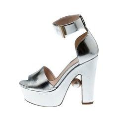Nicholas Kirkwood Metallic Silver  Ankle Cuff Platform Sandals Size 36