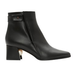 Nicholas Kirkwood Miri Black Leather Faux Pearl Ankle Boot (36 EU)