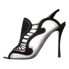 Nicholas Kirkwood NEW Black Suede Mesh Gold Glitter Evening Sandals Heels Pumps