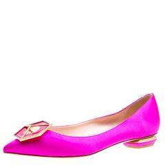 Nicholas Kirkwood Pink Satin Eden Crystal Embellished Pointed Toe Flats Size 40