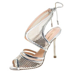 Nicholas Kirkwood Silver Cutout Patent Leather Tie Back Sandals Size 37