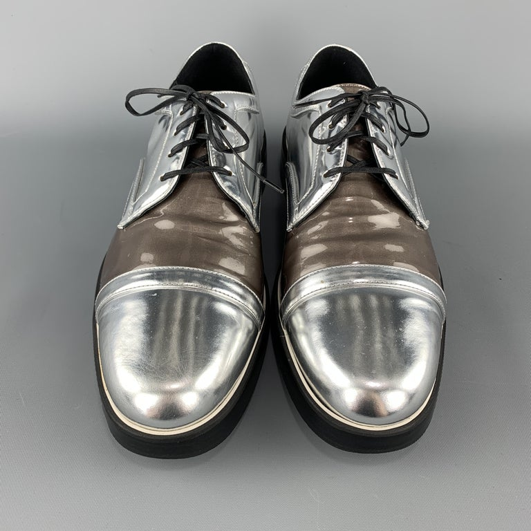 Men's NICHOLAS KIRKWOOD Size 9 Silver & Taupe Leather Lace Up Derbys For Sale