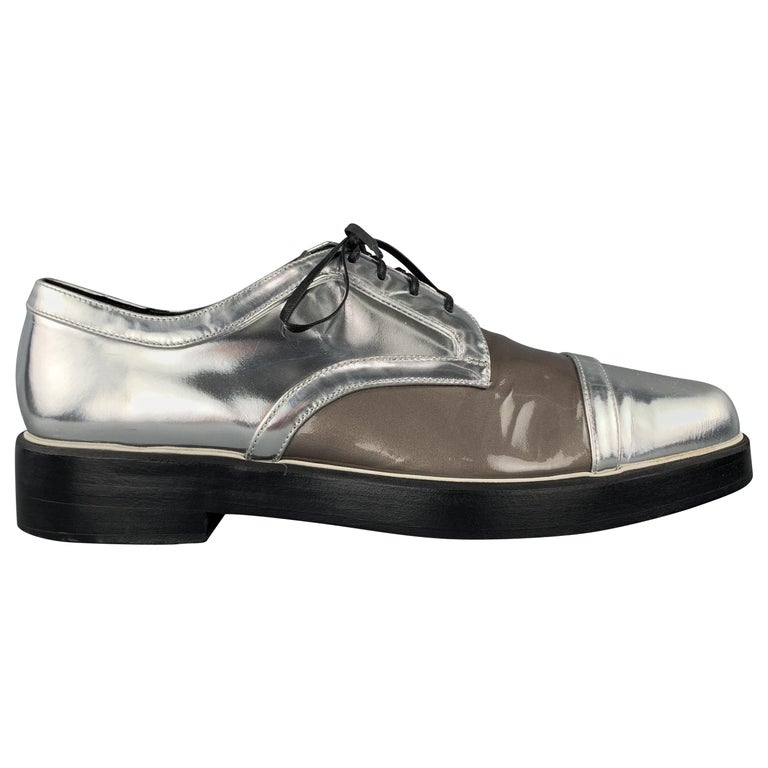 NICHOLAS KIRKWOOD Size 9 Silver & Taupe Leather Lace Up Derbys For Sale