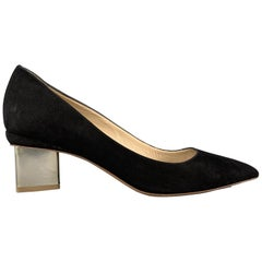 NICHOLAS KIRKWOOD Size 9.5 Black Suede Gold Heel Pumps