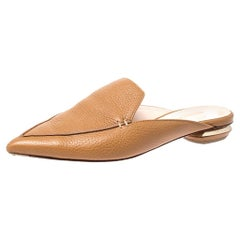 Nicholas Kirkwood Tan Leather Beya Pointed Toe Mules Size 36.5