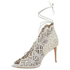 Nicholas Kirkwood White Laser Cut Leather and Patent Leather Booties Size 40.5