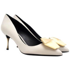 Nicholas Kirkwood White Leather Embellished Pumps 37