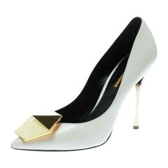 Nicholas Kirkwood White Leather Hexagon Pointed Toe Pumps Size 37