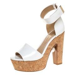 Nicholas Kirkwood White Maya Pearl Detail  Wedge Ankle Strap Sandals Size 39