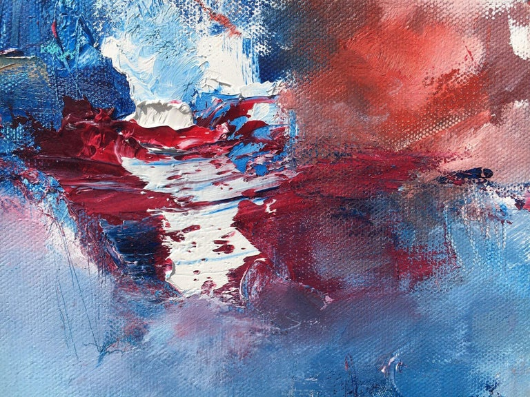 Surge & Swell, Painting, Oil on Canvas - Blue Abstract Painting by Nicholas Kriefall