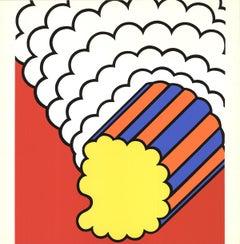 "Nicholas Krushenick-White Smoke Red Sky-19"" x 19""-Serigraph-1968-Pop Art"