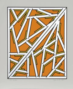 Orange One Variant, Geometric Abstract with Silver Detail