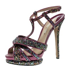Nicholas  Magenta Patent Leather and Glitter T Strap Platform Sandals Size 40