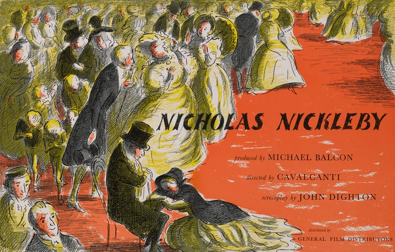 Original British trade advertisement for the 1947 film Nicholas Nickleby. The film was directed byAlberto Cavalcanti and starred Derek Bond, Cedric Hardwicke, Mary Merrall. The art work is by Edward Ardizzone (1900-1979). This piece is