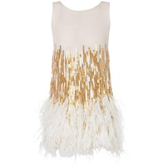Nicholas Oakwell, white & gold beaded with feather hem mini dress, circa 2012