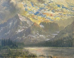 Swiftcurrent Lake with Mt. Gould in Sunset, Many Glacier, Glacier National Park,