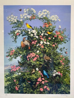 Giclee of Montana Birds and Wild Roses