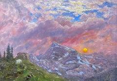Sunset with Heavens Peak, Glacier National Park, Montana