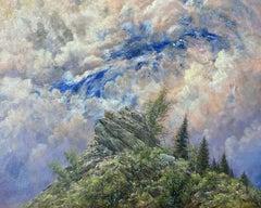 The Journey, Mountain Goat Traversing Rocks, Montana