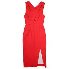 Nicholas Poppy Red Bonded Crepe Double Criss Cross Sleeveless Dress Sz 2 NWT