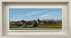 Daffodil Fields English Landscape Painting by Contemporary Photorealist Artist