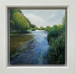 Light Reflections on the River Landscape Painting by British Photorealist Artist