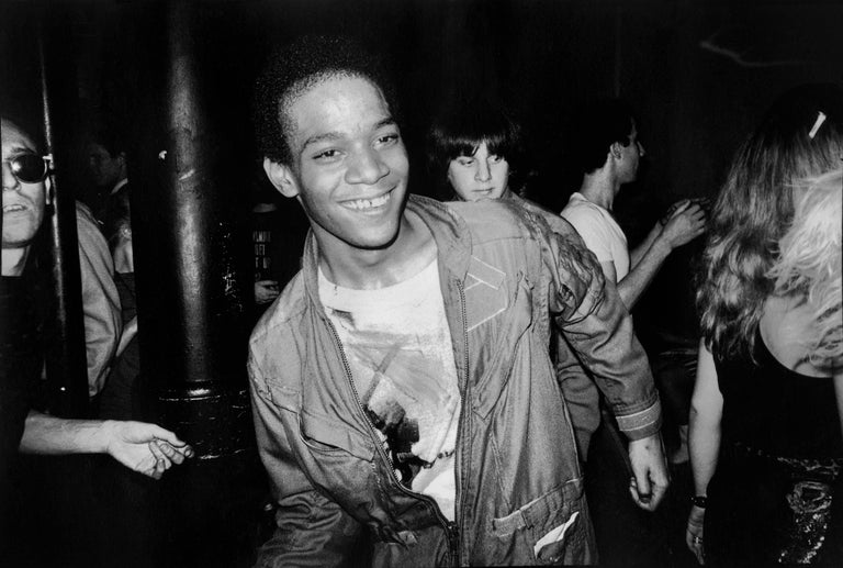 Nicholas Taylor Black and White Photograph - BASQUIAT Dancing at The Mudd Club, 1979 (Basquiat Boom For Real photograph)