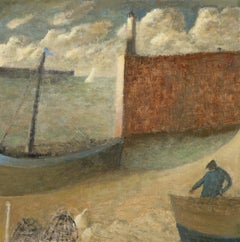 Fisherman and Creels - 21st Century, Contemporary, Oil, seascape