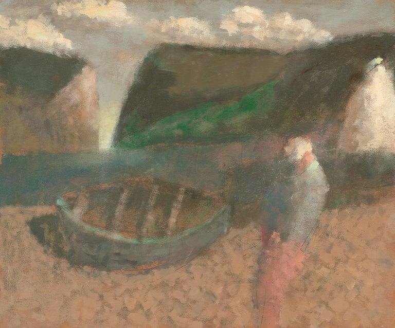 Nicholas Turner Figurative Painting - Fisherman with White sail