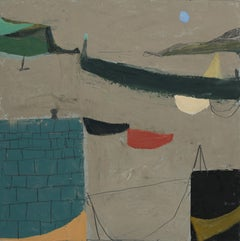 Harbour Wall with Boats - Oil - contemporary - 21st century
