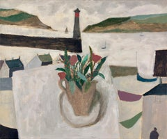 Nicholas Turner, Harbour with Flowers, oil painting. Lighthouse, Still life
