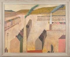 Nicholas Turner Industrial Town, Chimneys and Bike, 2020 landscape oil painting