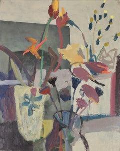 Nicholas Turner, Poppy Heads, flower painting, oil on canvas