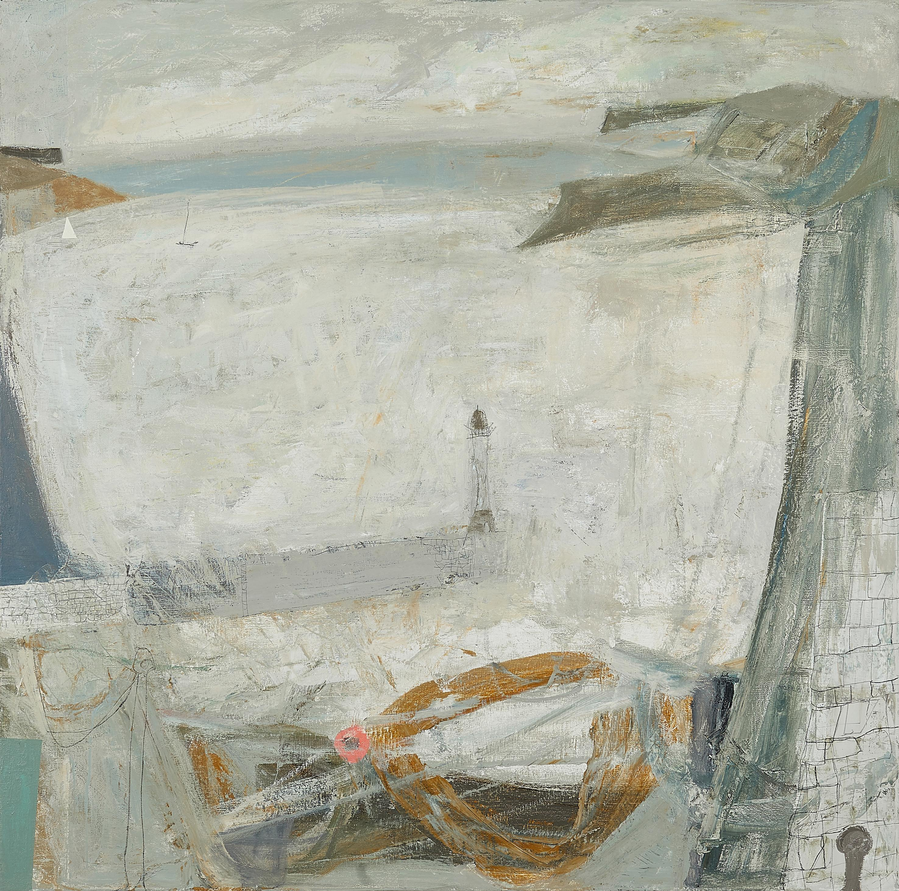 Nicholas Turner, White Sea, large oil painting. Coast, Harbour, Lighthouse