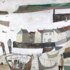 The Catch, Nicholas Turner. Oil on canvas, coastal harbour, seaside headland