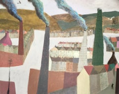 Valley and Chimneys, Nicholas Turner. Oil on canvas, industrial townscape, city