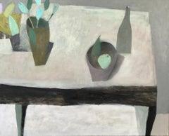 White Table, Nicholas Turner. Still life painting, flowers, pears, bottle, vase
