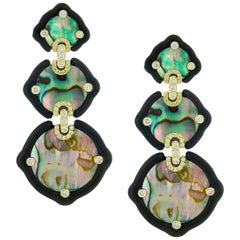 Nicholas Varney Mother of Pearl Ebony and Diamond Earrings