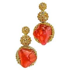 Nicholas Varney Pink Tourmaline and Diamond Earrings