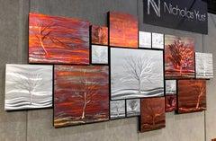 Metallic Copper Landscape Trees - Metal Wall Art Botanical Sculpture Carvings
