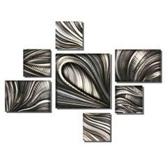 Nicholas Yust Large Contemporary Modern Industrial Metal Hanging Wall Decor Set